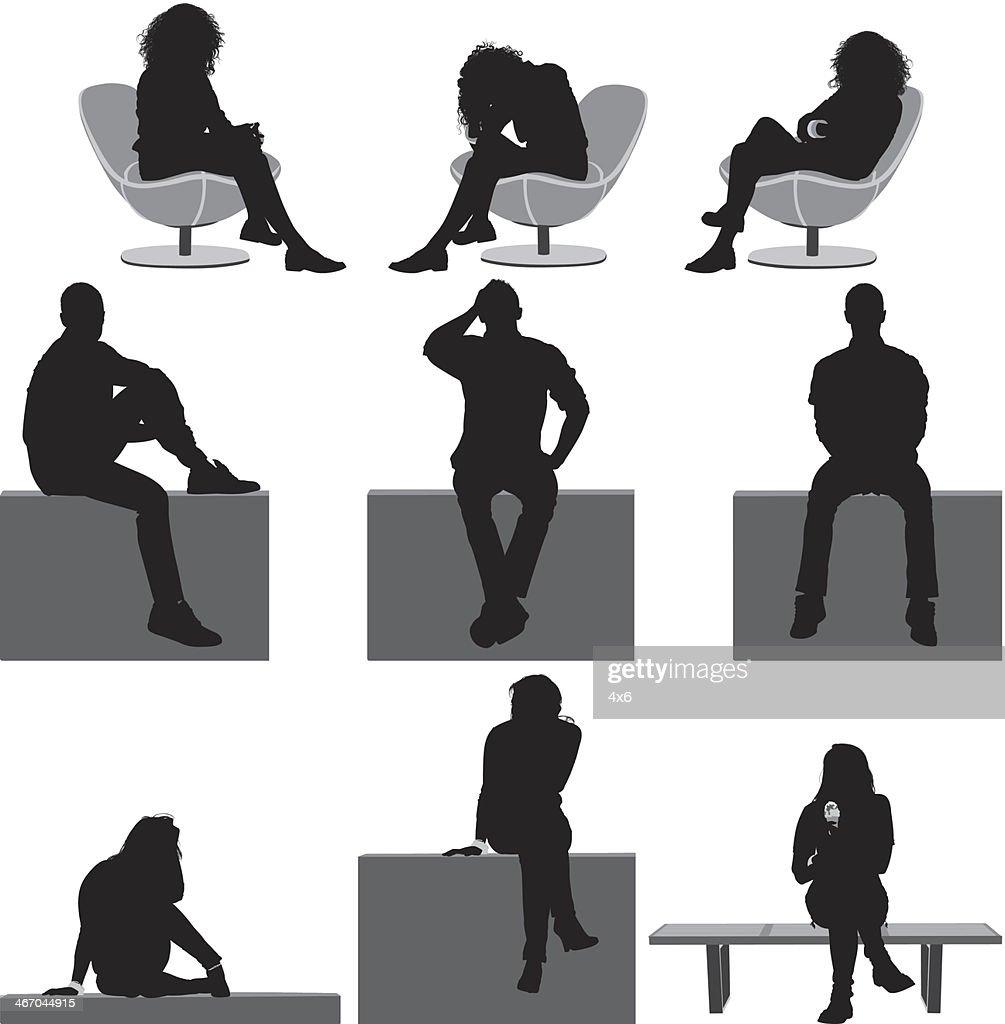 Menschen sitzen : Stock-Illustration