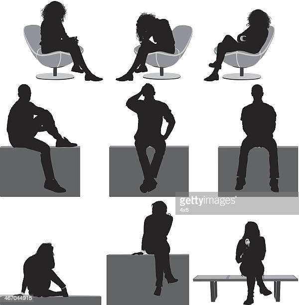 people sitting - sitting stock illustrations