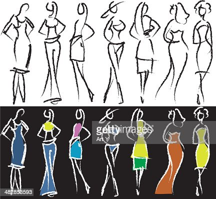 People Sketch Models High Res Vector Graphic Getty Images