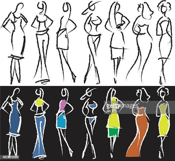 illustrations, cliparts, dessins animés et icônes de personnes croquis, modèles - pantalon