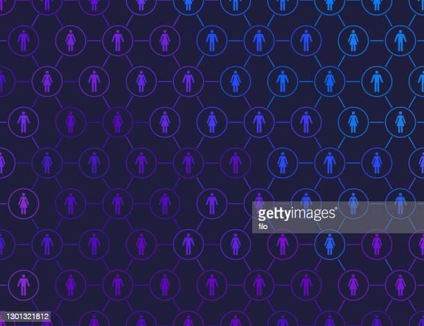人々のソーシャルメディア接続ネットワークの背景 - ジェンダー・ステレオタイプ点のイラスト素材/クリップアート素材/マンガ素材/アイコン素材