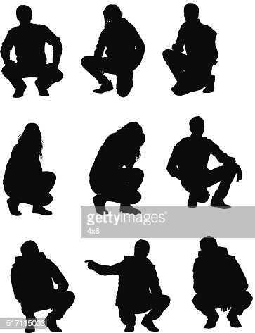 People Squatting Vector Art   Getty Images
