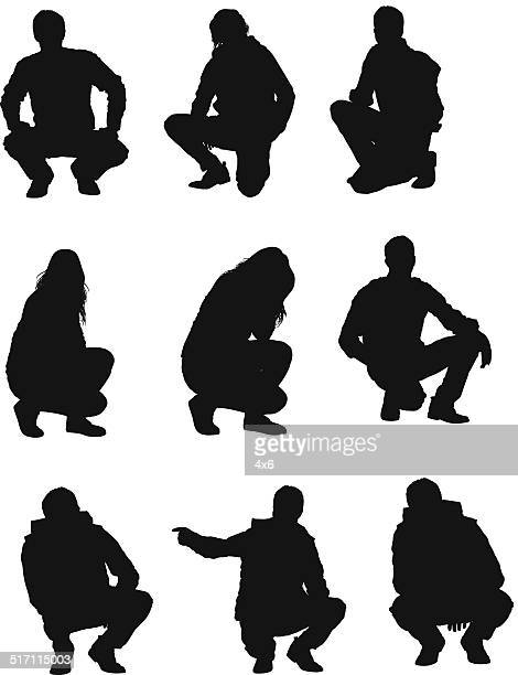 people squatting - crouching stock illustrations, clip art, cartoons, & icons