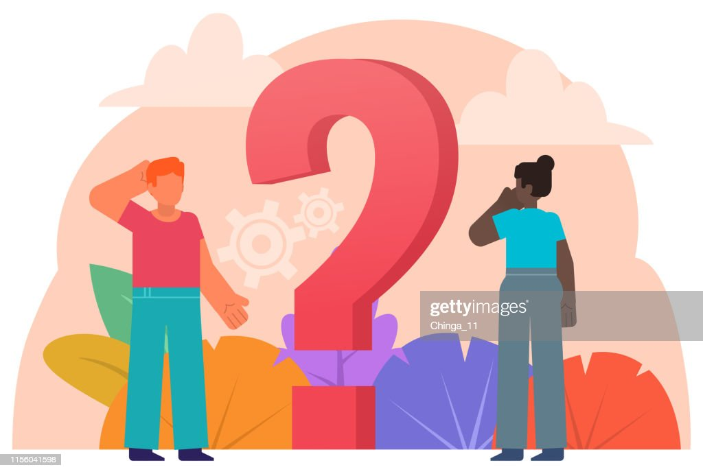 People stand near question mark. Frequently asked questions, making difficult decision, problem solving. Poster for social media, presentation, web page, banner : stock illustration