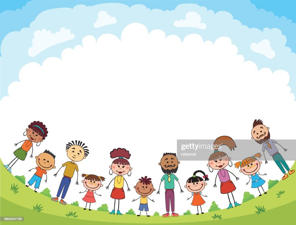 people stand on the glade, bunner cartoon funny vector, Ready for your message. blank template character. illustration