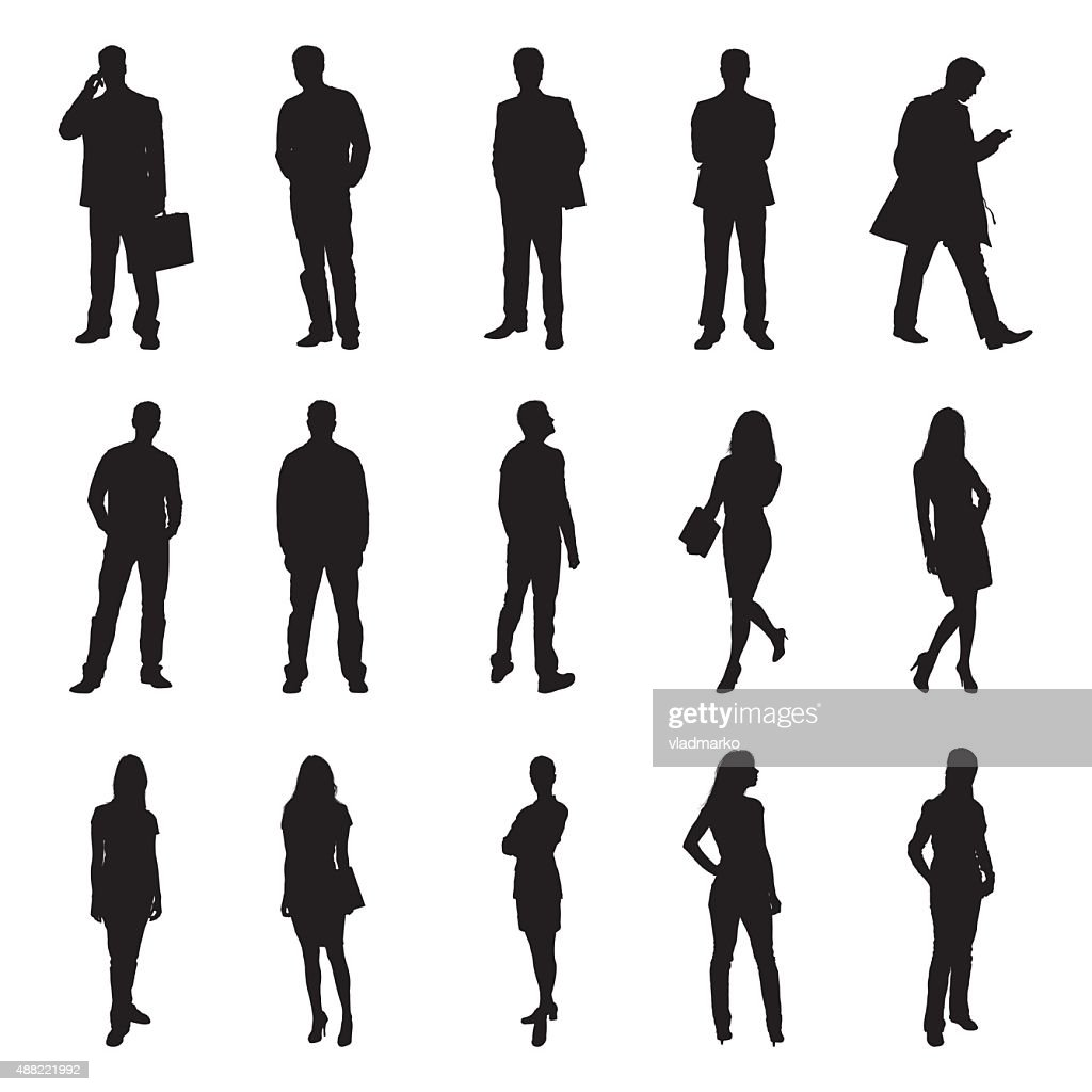 People Standing Black Silhouette Vector Illustrations
