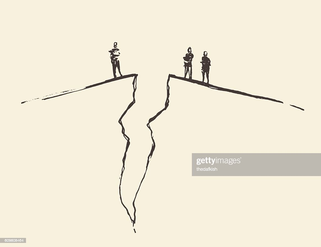 People standing cracked ground. Concept vector.