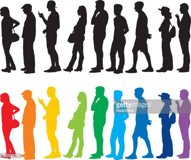 people standing in line silhouettes - patience stock illustrations