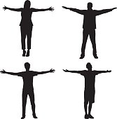 People Standing with Arms Out Silhouette