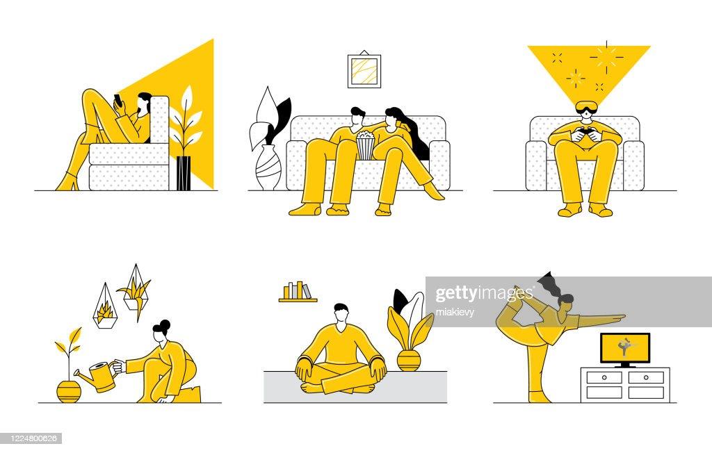 Pessoas ficando em casa : Ilustração