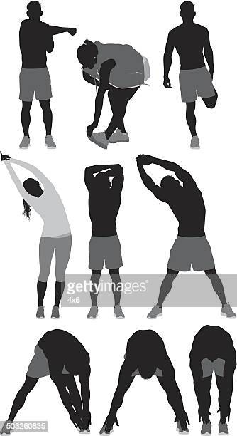 people stretching sports activity - warming up stock illustrations