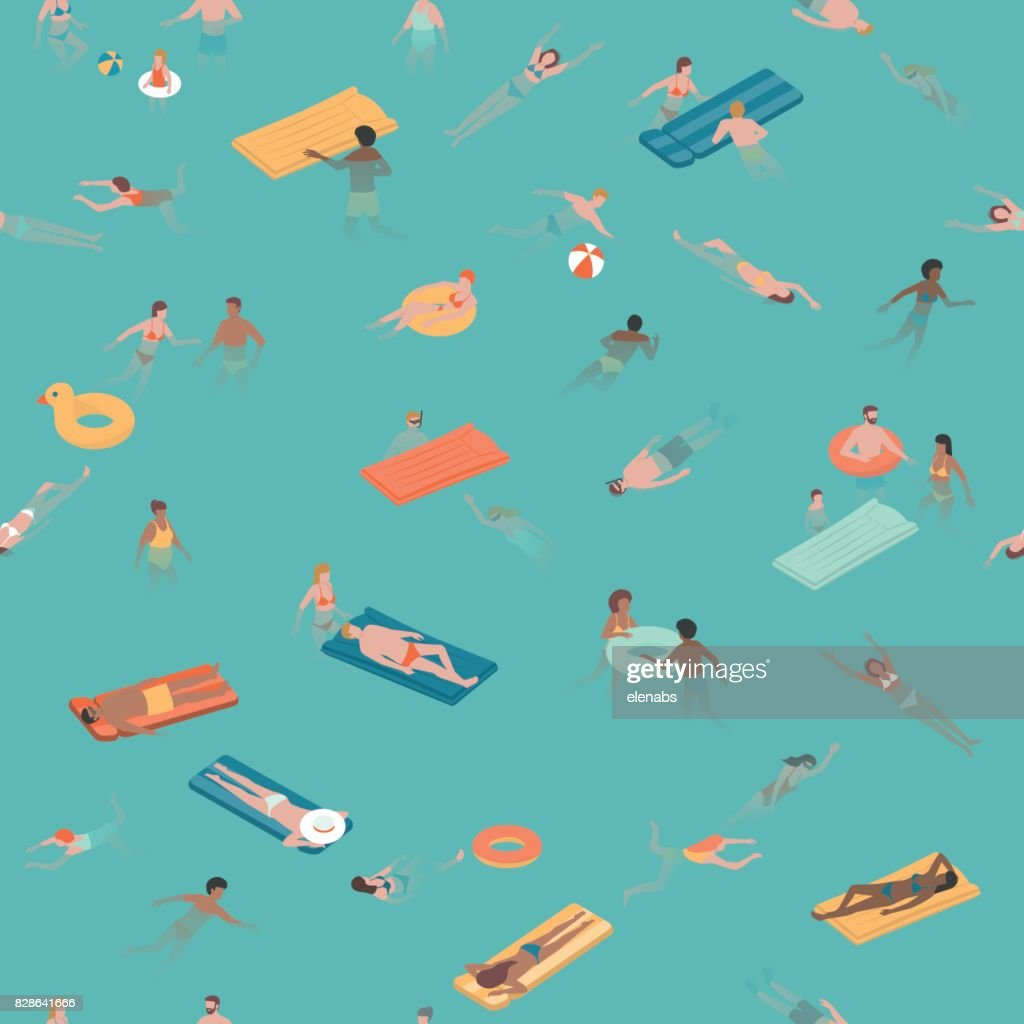 People swimming and diving in the sea