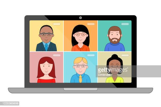 people talk to each other on the computer screen. conference video call, working from home. - employee engagement stock illustrations