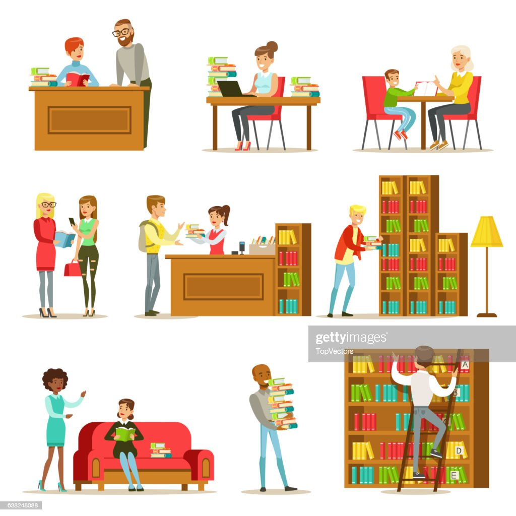 People Talking And Reading Books In Library Set Of Illustrations