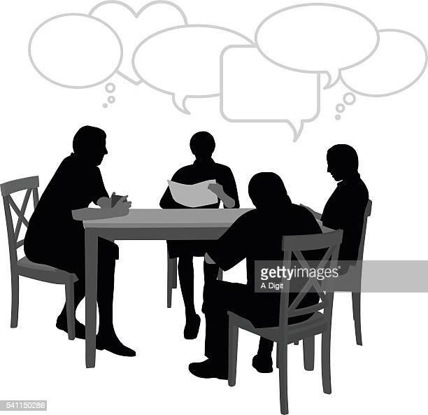 ilustraciones, imágenes clip art, dibujos animados e iconos de stock de hablar en la tabla - mesa de comedor