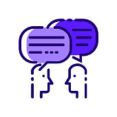 People Talking. Blue flat thin line icons.