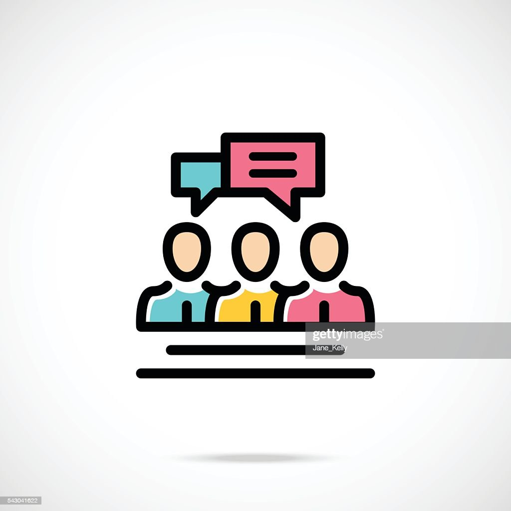 People talking icon. Chat, communication. Thin line flat vector icon