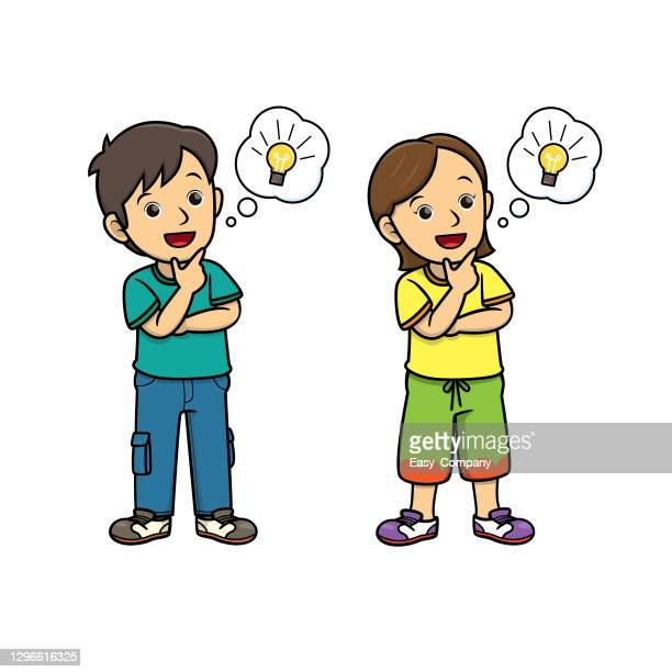 people thinking with lightbulb in the speech bubble/cloud callout. for human face expression or emotion concepts.used to compose teaching materials in a set that expresses emotions. - clip art stock illustrations