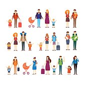 People travel with children, families. Characters
