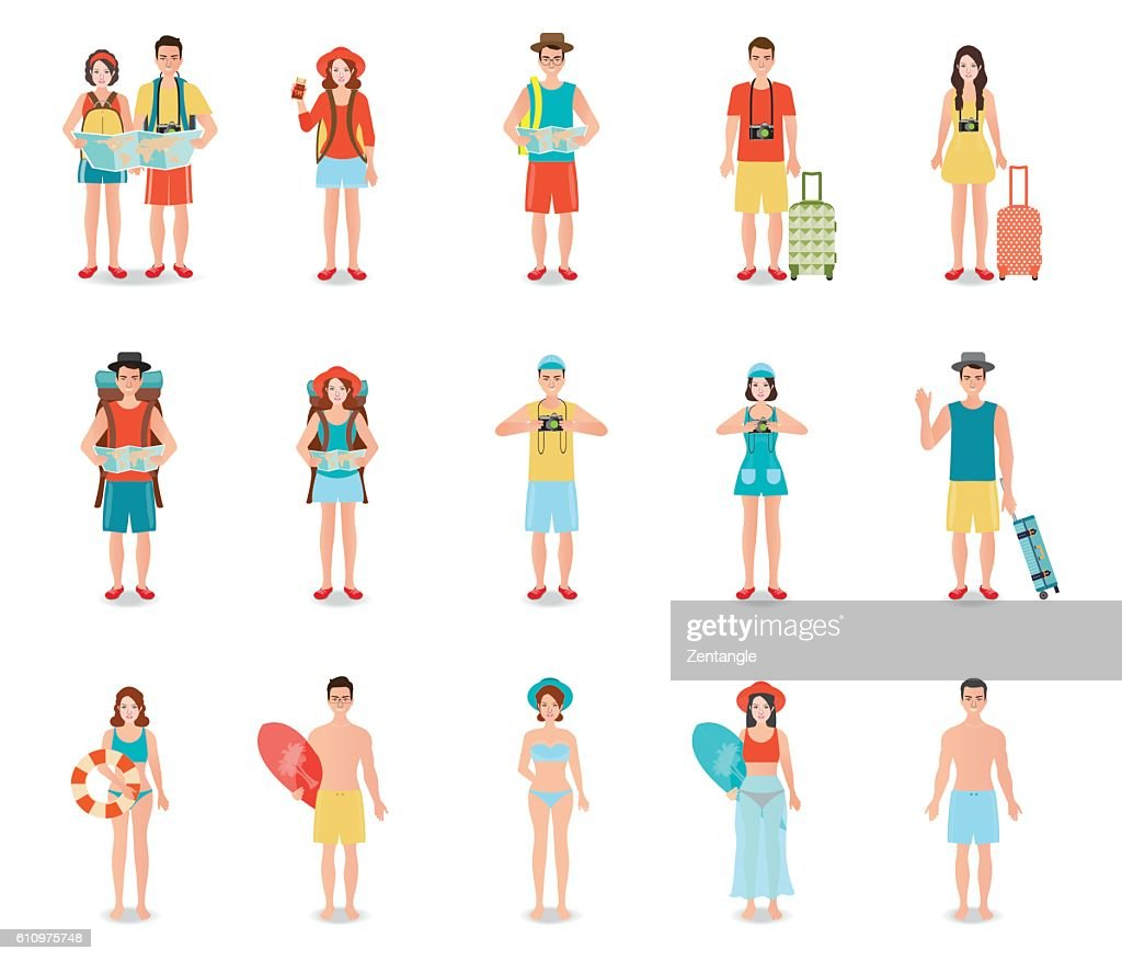 People traveling isolated on white.