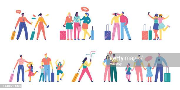 people traveling set - illustration technique stock illustrations
