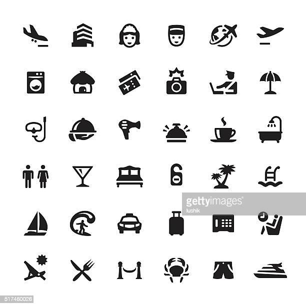 people traveling vector symbols and icons - holiday travel stock illustrations, clip art, cartoons, & icons