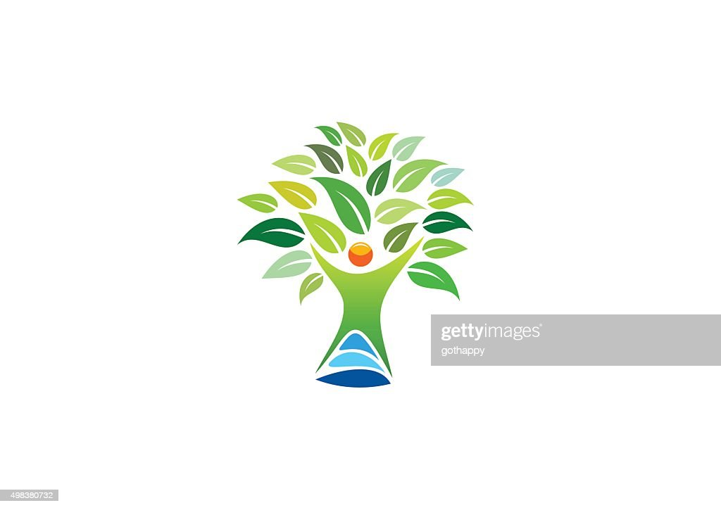 people tree logo, wellness symbol, fitness healthy icon design vector