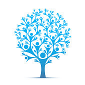 People tree sign color blue.