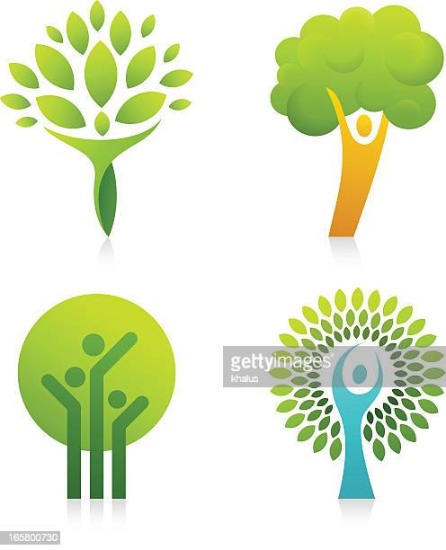 people tree - three people stock illustrations