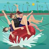 People tubing on water