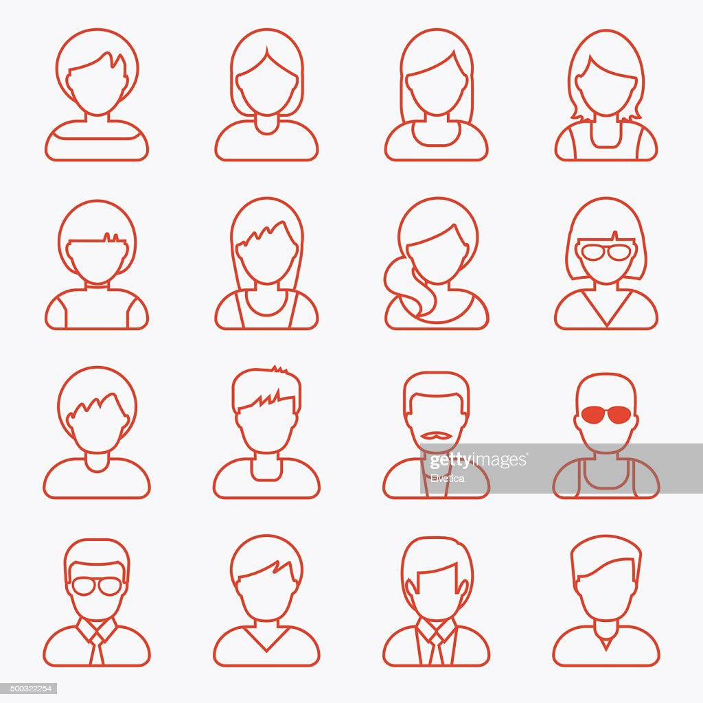 People userpics line icons