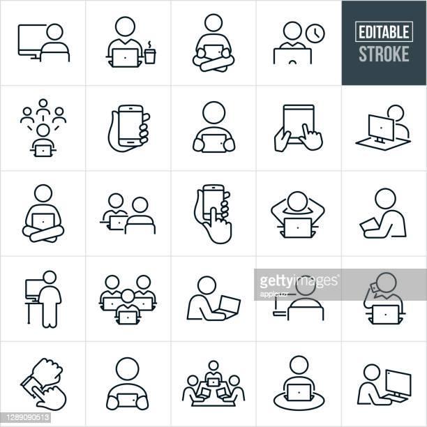ilustrações, clipart, desenhos animados e ícones de pessoas usando computadores e dispositivos ícones de linha fina - traçado editável - usar computador