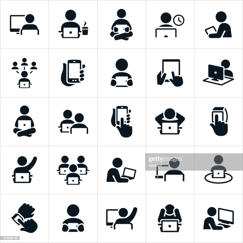 People Using Computers Icons : stock illustration