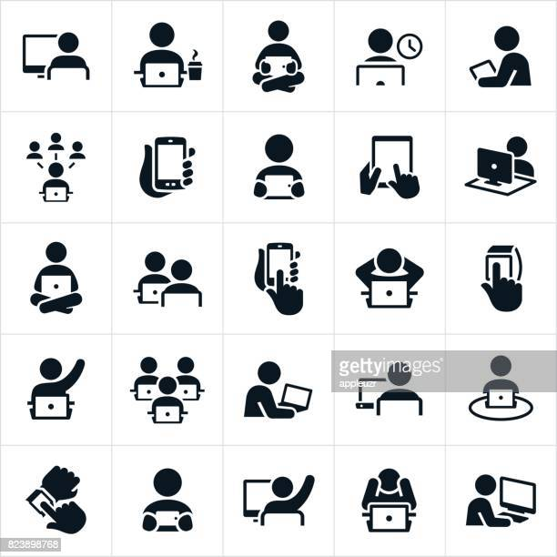 people using computers icons - learning stock illustrations