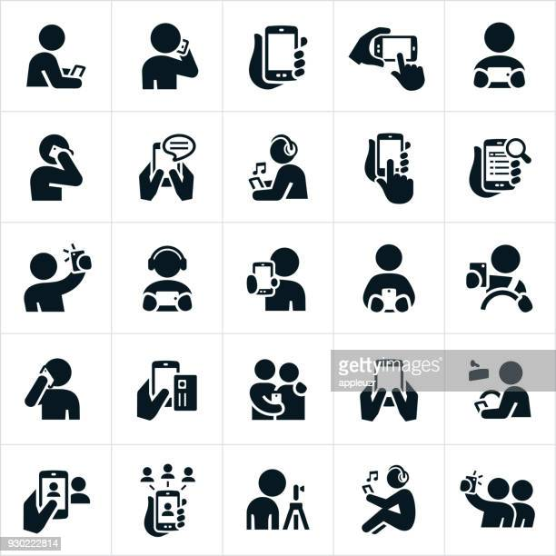 people using smartphones icons - holding stock illustrations, clip art, cartoons, & icons