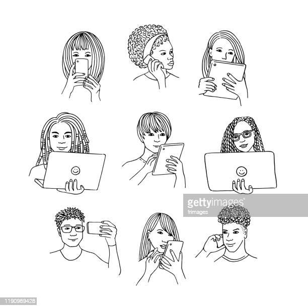 People using various devices