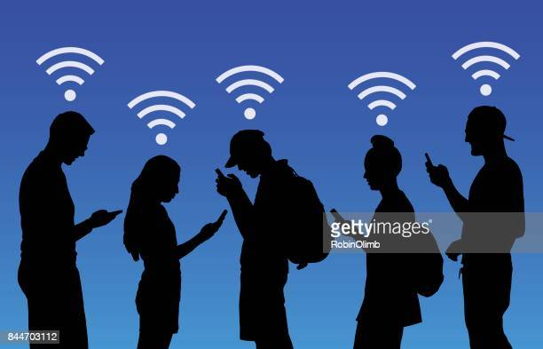 people using wireless smart phones - surfing the net stock illustrations