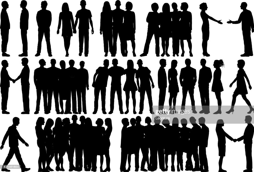 People (All Silhouettes Are Complete and Moveable) : stock illustration
