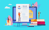 People vector illustration. Flat cartoon character. Landing page template.