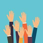 People vote hands. Raised hands volunteering.
