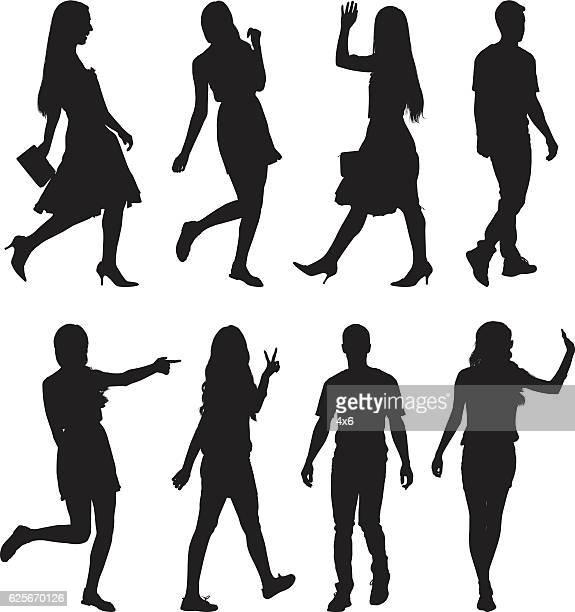 歩く人と様々な行動をする人 - ピースサイン点のイラスト素材/クリップアート素材/マンガ素材/アイコン素材