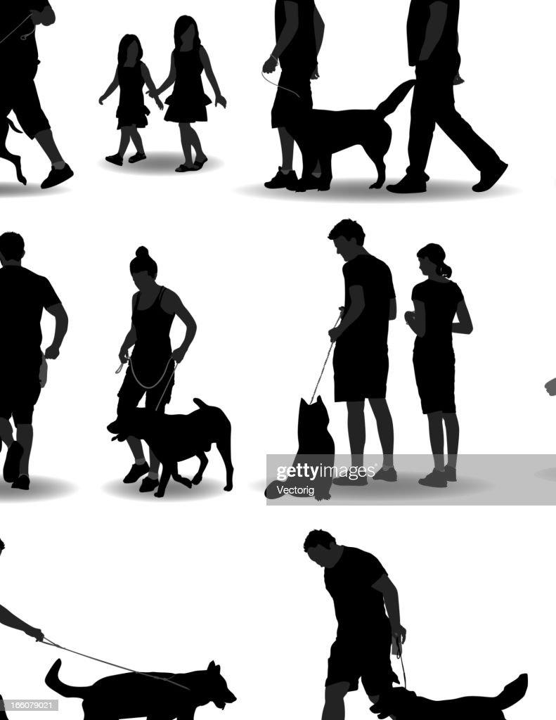 People Walking Dogs