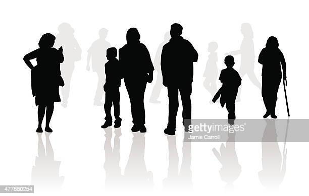 people walking silhouettes - walking cane stock illustrations