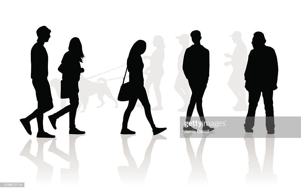 People walking silhouettes : stock illustration