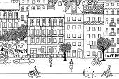 People walking through Berlin