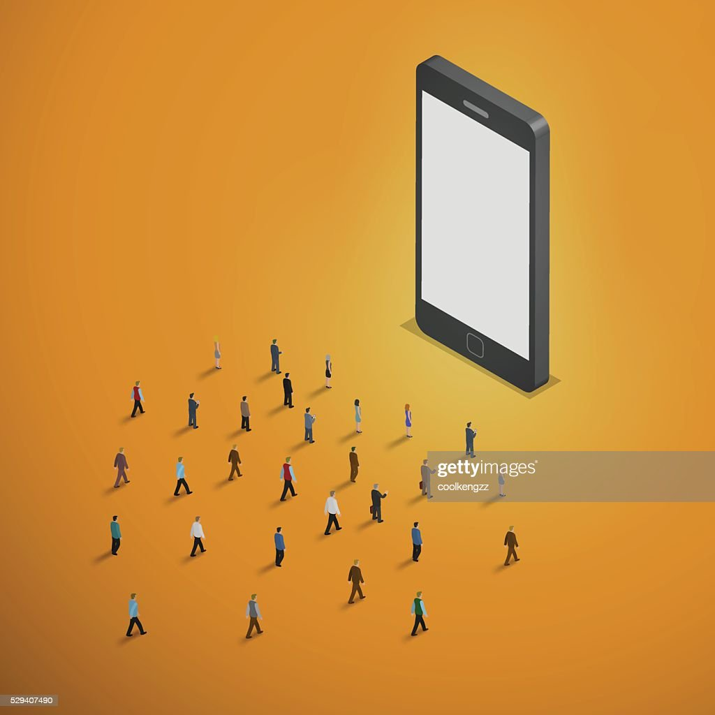 people walking to smart phone.