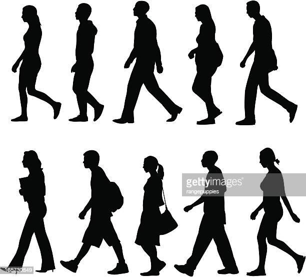 people walking - side view stock illustrations