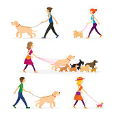 People Walking with Dogs Set