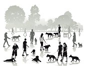 People walking with dogs