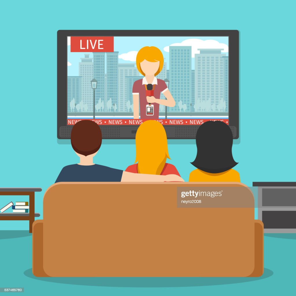 People watching news on television. Vector flat illustration
